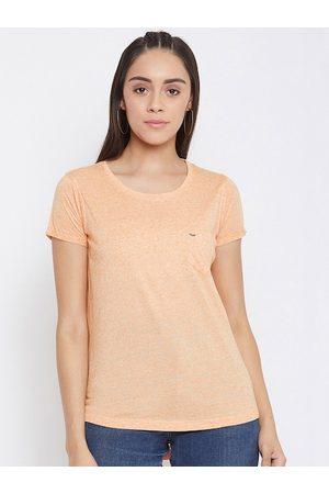 Crimsoune Club Women Peach-Coloured Solid Round Neck T-shirt