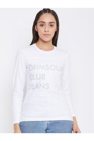 Crimsoune Club Women White Printed Round Neck T-shirt