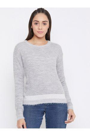 Crimsoune Club Women Grey Solid Pullover Sweater