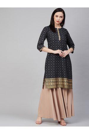 Bhama Couture Women Black & Grey Block Print Straight Kurta