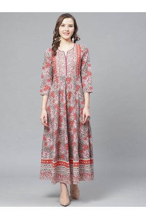 Rain & Rainbow Women Grey & Orange Sequinned Floral Printed Maxi Dress
