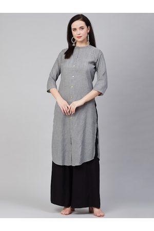 Bhama Couture Women Charcoal Grey & White Self-Striped Straight Kurta
