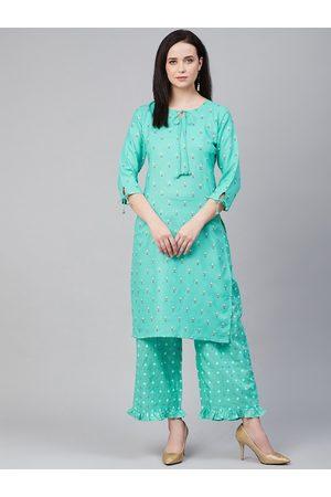 Bhama Couture Women Blue & Golden Block Print Kurta with Palazzos