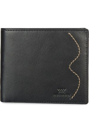 Aditi Wasan Men Black Solid Leather Two Fold Wallet
