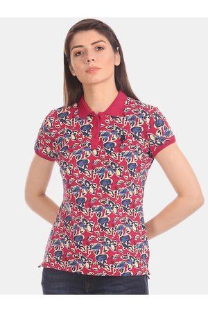 U.S. Polo Assn. Women Red Printed Polo Collar T-shirt