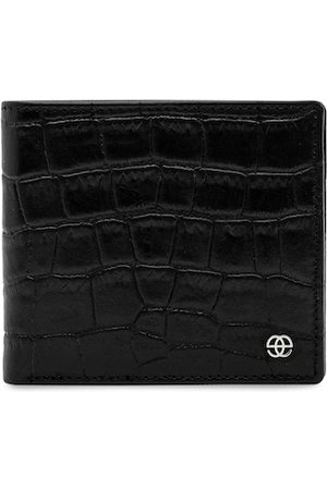 Eske Men Black Textured Leather Two Fold Wallet