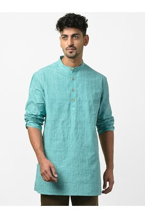 Fab India Men Sea Green Thread-Work Detail Straight Kurta
