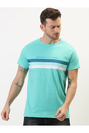Difference of Opinion Men Sea Green & White Colourblocked T-shirt