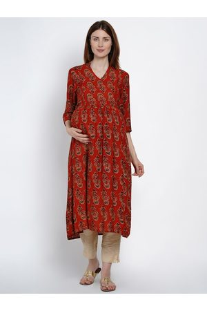 Mine4Nine Women Rust Red & Black Printed A-Line Maternity & Nursing Kurta