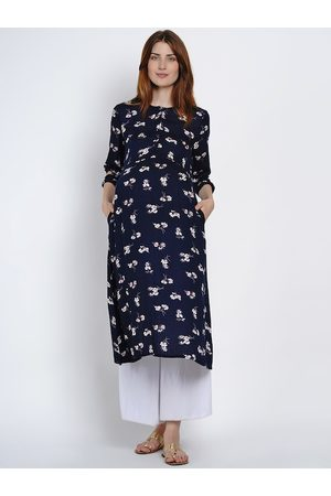 Mine4Nine Women Navy Blue & White Floral Print A-Line Maternity Kurta