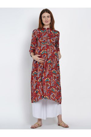 Mine4Nine Women Maroon & Blue Printed A-Line Maternity Kurta