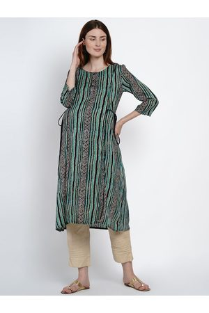 Mine4Nine Women Green & Black Striped A-Line Maternity Kurta