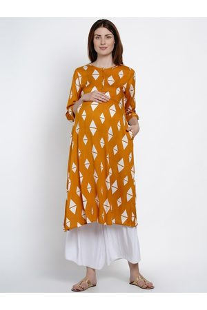 Mine4Nine Women Mustard Yellow & White Printed A-Line Maternity Kurta