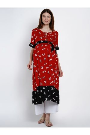 Mine4Nine Women Red & Black Floral Print A-Line Maternity & Nursing Kurta