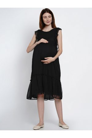 Mine4Nine Women Black Solid A-Line Maternity Dress