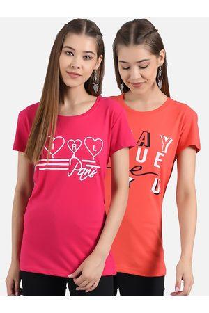 KOTTY Women Pink & Orange Set of 2 Printed Round Neck T-shirts