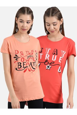 KOTTY Women Pack Of 2 Printed Round Neck T-shirts