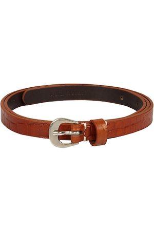 Aditi Wasan Women Tan Brown Leather Textured Belt