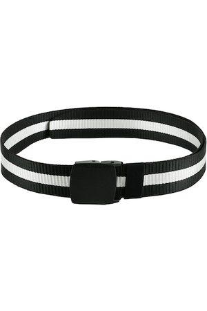 WINSOME DEAL Men Black & White Striped Belt