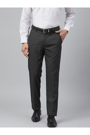 Louis Philippe Men Charcoal Grey Slim Fit Micro Checked Formal Trousers