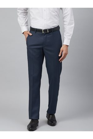 Louis Philippe Men Navy Blue Slim Fit Self-Checked Formal Trousers