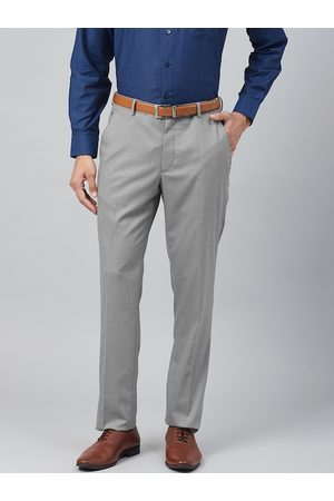 Louis Philippe Men Grey & White Slim Fit Checked Formal Trousers