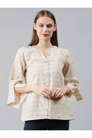Mimosa Women Beige Self Design Linen Shirt Style Top with Flared Slit Sleeves