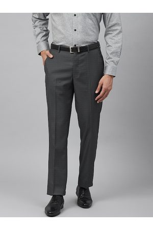Louis Philippe Men Charcoal Grey Slim Fit Self Checked Formal Trousers