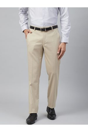 Louis Philippe Men Beige & White Slim Fit Checked Formal Trousers