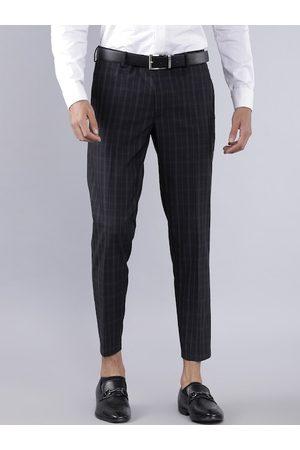 Highlander Men Black Checked Slim Fit Formal Trousers