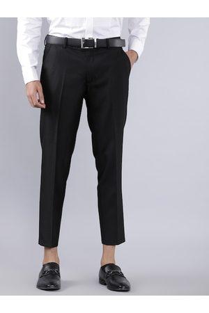 Highlander Men Black Slim Fit Solid Formal Trousers