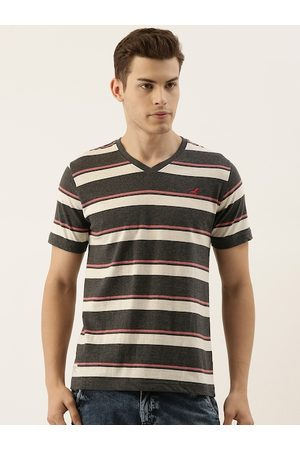 American Crew Men Charcoal Grey & Off-White Striped V-Neck T-shirt