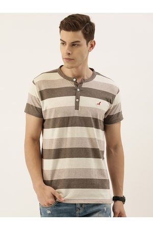 American Crew Men Brown & Cream-Coloured Striped Henley Neck T-shirt