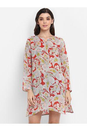 Aditi Wasan Women Red & Grey Printed A-Line Dress