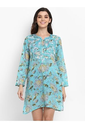 Aditi Wasan Women Turquoise Blue & Green Floral Printed Embroidered Tunic