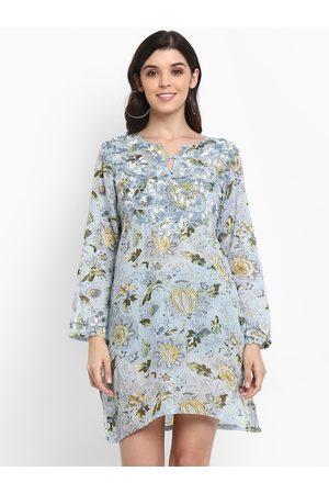 Aditi Wasan Women Blue & Yellow Embroidered Tunic