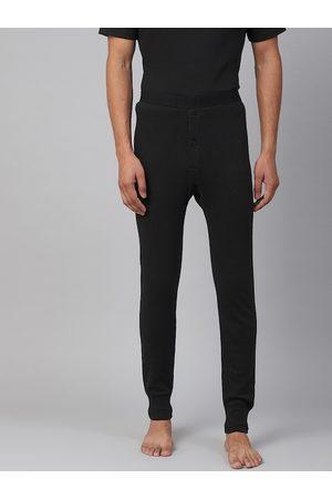 Marks & Spencer Men Joggers - Men Black Ribbed Joggers Thermal Bottoms