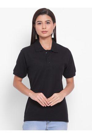 YOLOCLAN Women Black Solid Polo Collar T-shirt
