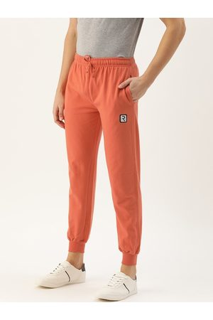 Rodzen Men Orange Solid Straight Fit Casual Joggers With Applique Detailing