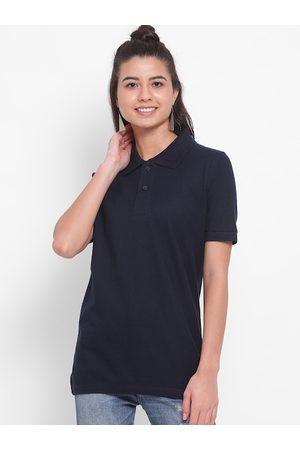 YOLOCLAN Women Navy Blue Solid Polo Collar T-shirt