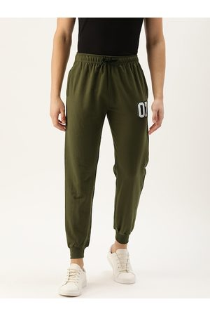 Rodzen Men Olive Green Solid Straight Fit Casual Joggers With Applique Detailing