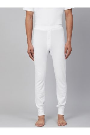 Marks & Spencer Men White Ribbed Joggers Thermal Bottoms