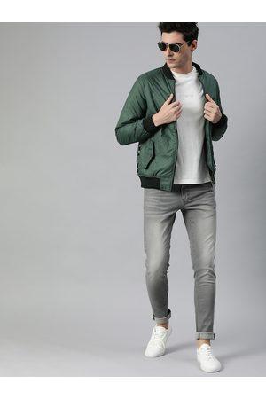 WROGN Men Teal Green Slim Fit Solid Bomber Jacket