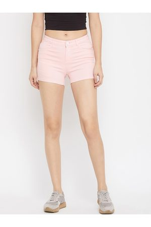 Crimsoune Club Women Pink Solid Slim Fit Hot Pants