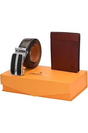 Pacific Men Brown Genuine Leather Autolock Belt & Wallet Accessory Gift Set