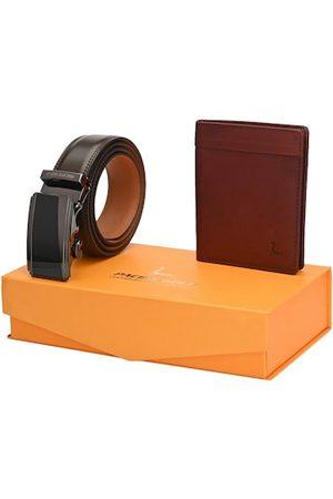Pacific Men Brown Genuine Leather Autolock Belt & Wallet Gift Set