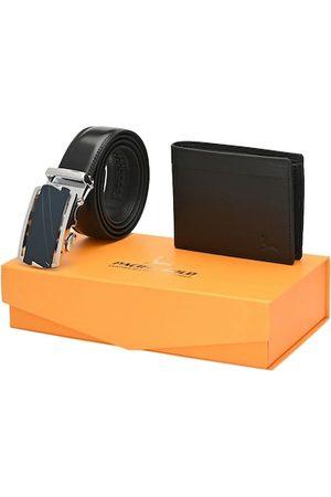 Pacific Men Black Genuine Leather Autolock Belt & Wallet Accessory Gift Set