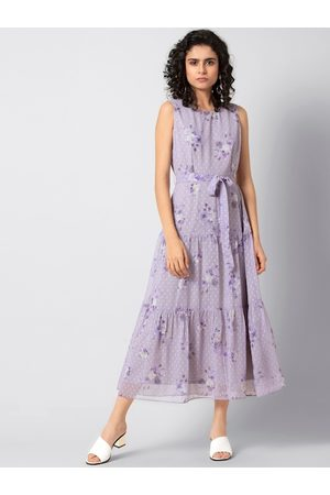 FabAlley Women Purple Floral Printed A-Line Dress