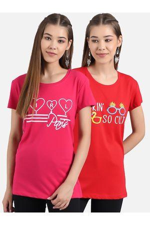 KOTTY Women Pack Of 2 Printed Round Neck T-shirt
