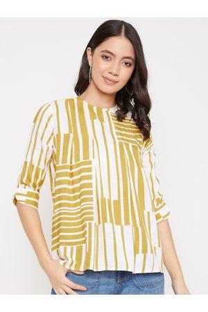 Crimsoune Club Women Yellow & Off-White Striped Top